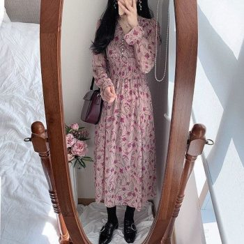 New Party Women Sweet Chiffon Dress Button V Neck Long Sleeve A Line Mid-Calf Slim Dresses Pink Flower Retro Print Dress Vestido