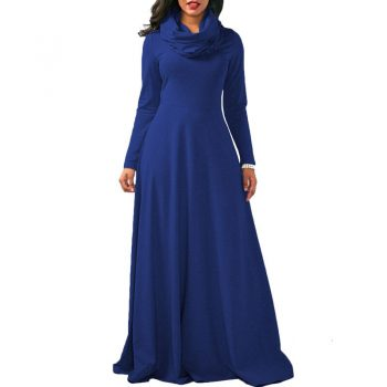 Brand Winter Autumn Dresses Women Cotton Big Swing Scarf High Neck Long Maxi Dress Party Casual Slim Warm Floor Length Dress