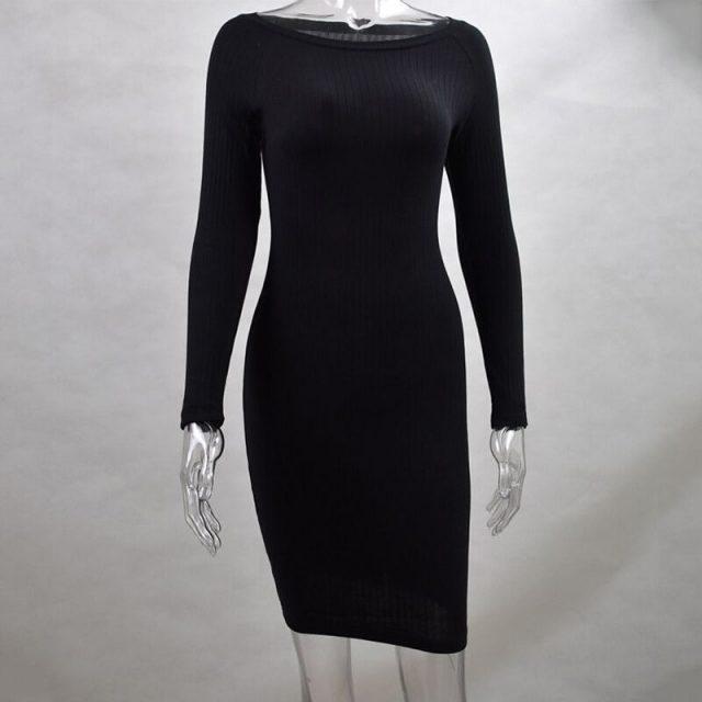 Cotton Striped Bodycon Dress Women Sexy Hip Clothing Spring Autumn Long Sleeve Sexy Party Dress Khaki Black Grey Casual Dresses