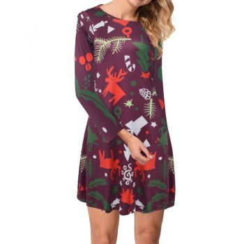 New Santa Claus Print A-line Dress Vintage Floral Long Sleeve Christmas Dress Women's Autumn Winter Slim Pullover Dresses Party