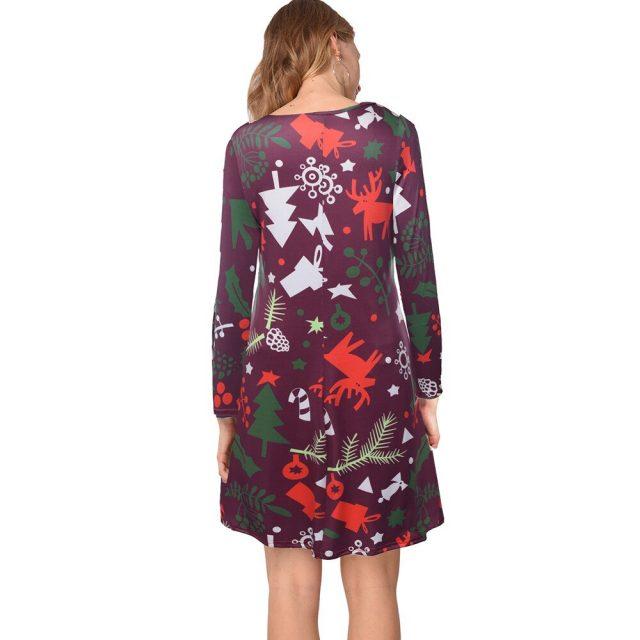 New Santa Claus Print A-line Dress Vintage Floral Long Sleeve Christmas Dress Women's Autumn Winter Slim Pullover Dresses Party