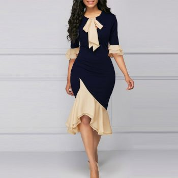 4XL Plus Size Women Dress Fashion Elegant Office Lady Party Dresses Spring Summer Sexy Bow Ruffles Stitching Dress Blue Vestidos