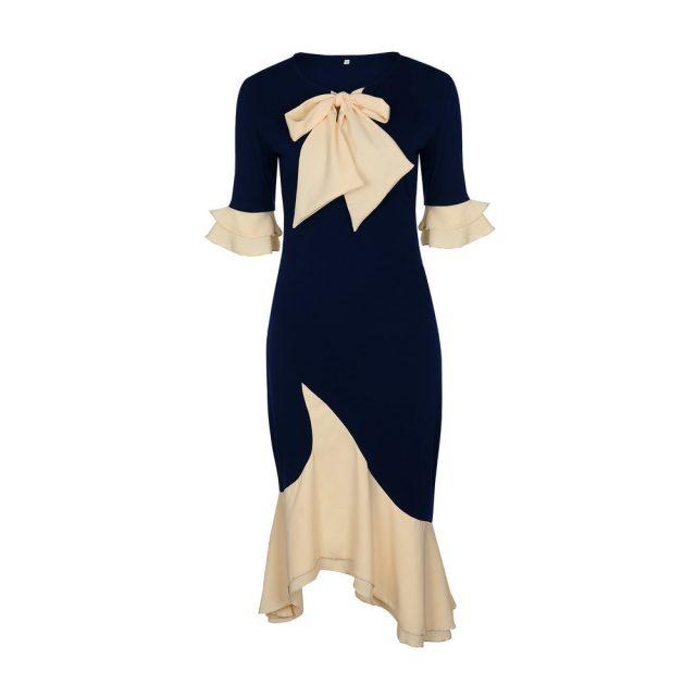 4XL Plus Size Women Dress Fashion Elegant Office Lady Party Dresses Spring Summer Sexy Bow Ruffles Stitching Dress Blue Vestidos