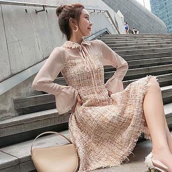 Fashion Women's Midi Dress 2019 Butterfly Long Sleeve A Line Slim Autumn Winter Dress Sweet Chic Turn Down Collar Wool Dresses
