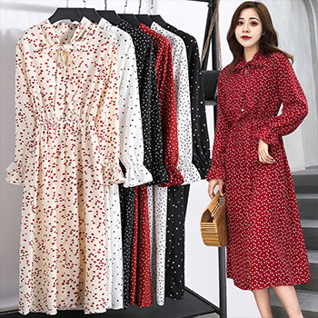 Elegant Women Office Plaid Polka Dot Vintage Dress Autumn Chiffon Shirt Dresses Spring Casual Red Midi Floral Dress Female Tunic