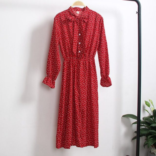 Elegant Women Office Plaid Polka Dot Vintage Dress Autumn Chiffon Shirt Dresses Spring Casual Red Midi Floral Dress Female Tunic