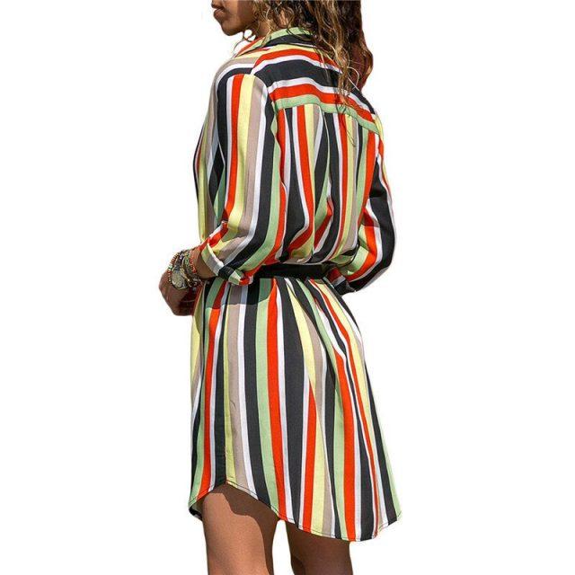 Brand Long Sleeve Shirt Dress 2019 Summer Chiffon Boho Beach Dresses Women Casual Striped Print Straight Dress Party Vestidos