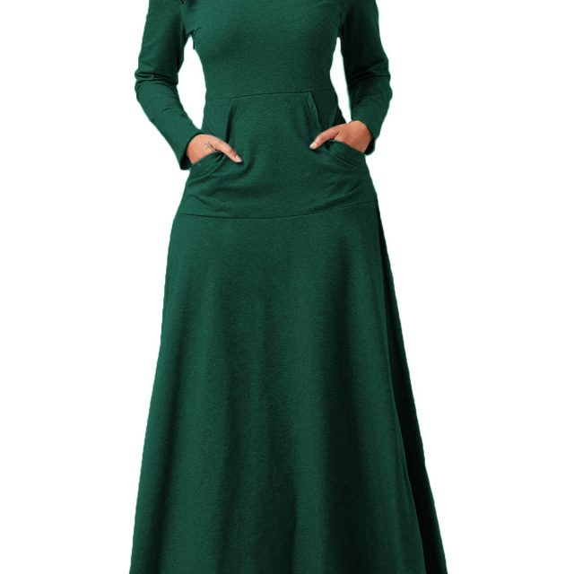 Cotton Turtle Scarf Neck Dress Tall Women Floor Length Long Maxi Dresses Big Swing Pockets Dress Slim Long Sleeve Winter Vestido