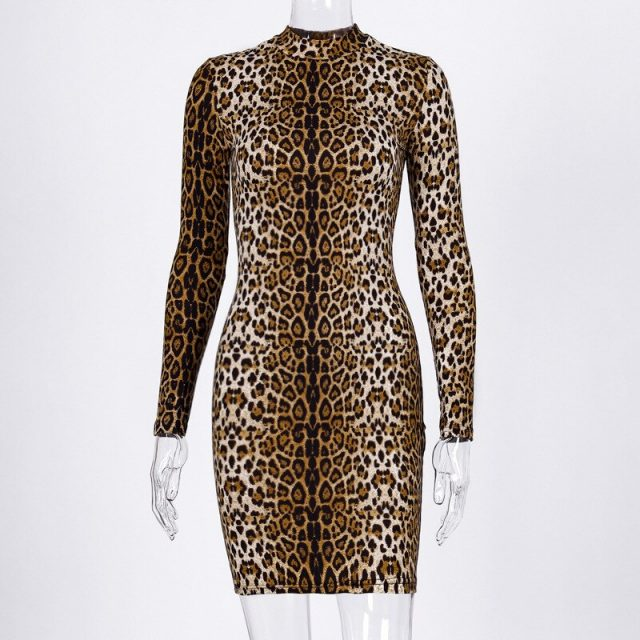 Sexy Club Party Dress Women Autumn Winter Leopard Striped Zebra Dress Turtleneck Sheath Streetwear Short Dress Vestidos De Festa