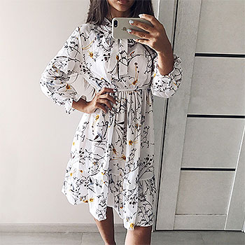 Korean Fashion Women's Chiffon Dress Autumn Shirt Dresses Office Plaid Polka Dot Vintage Dresses Casual Midi Floral Dress Female