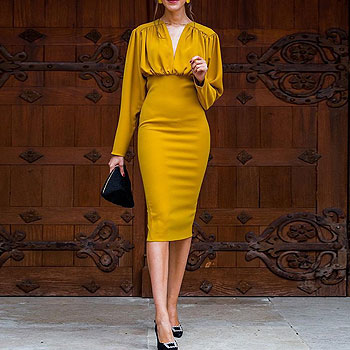 Autumn Winter New Women Streetwear Club Dress Yellow Long Sleeve Party Vestidos Pleated V Neck Slim Pencil Dress Elegant Tunic