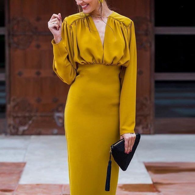 Autumn Winter New Women Streetwear Club Dress Yellow Long Sleeve Party Vestidos Pleated V Neck Slim Pencil Dress Elegant Tunic