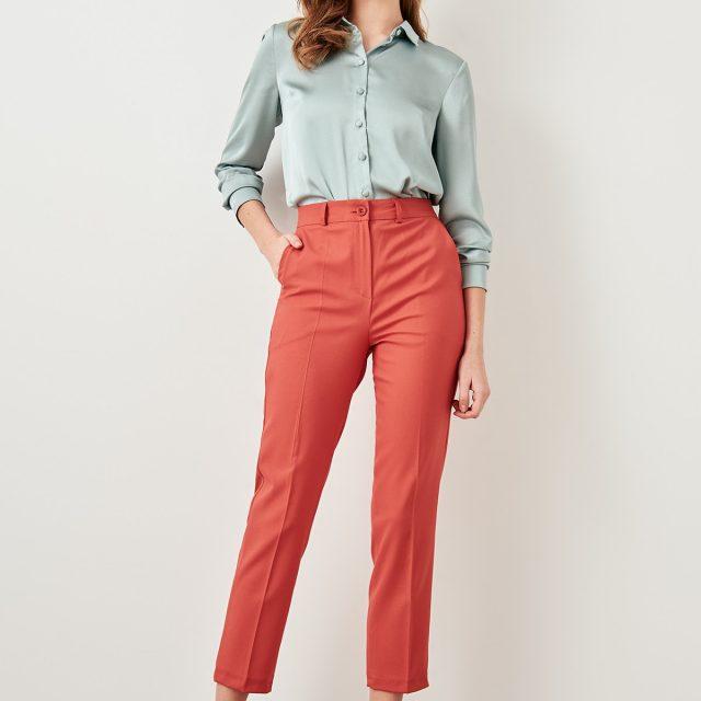 Trendyol Pomegranate Flower Basic Casual Trouser Ankle Pencil Slim Fit Pants TWOSS19ST0038