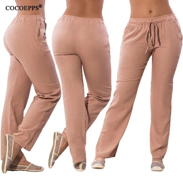 COCOEPPS Women Casual Chiffon Pants Big Size Solid Summer Female Trousers 2019 Large Size Drawstring Elastic Waist Pockets Pants