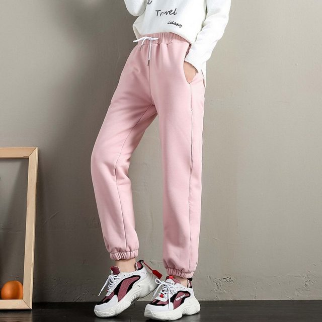 BEFORW 2019 Winter Women Cotton Thickening Lmitation Lamb Hair Warm Sweatpants Casual Comfy Sweatpants Leisure Trousers Pants