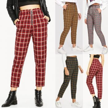 Fashion Women High Waist Lattice plaid Printing zipper Long Trousers Pockets Decorati Casual Pants calf-length pants trousers