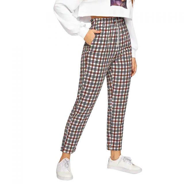 Fashion Women High Waist Lattice plaid Printing zipper Long Trousers Pockets Decorati Casual Pants calf-length pants trousers