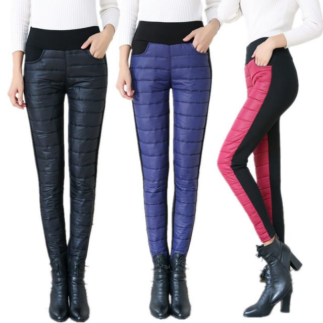 Winter Women Down Pants Plus Size Velvet Trousers Thickening Slim Thermal Female Warm Trousers High Waist Straight Cotton Pant