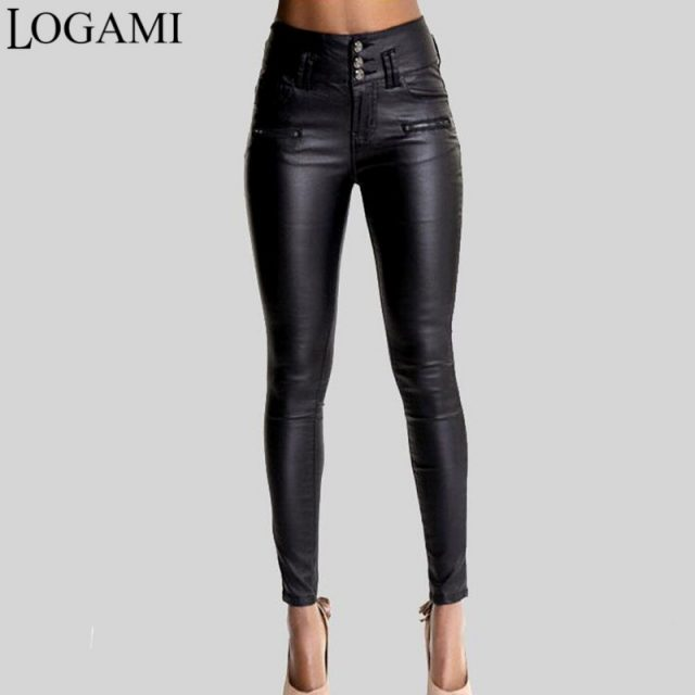 LOGAMI Women Pu Leather Pants Black Sexy Stretch Bodycon Trousers Women High Waist Long Pants