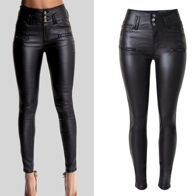 LOGAMI Women Pu Leather Pants Black Sexy Stretch Bodycon Trousers Women High Waist Long Pants