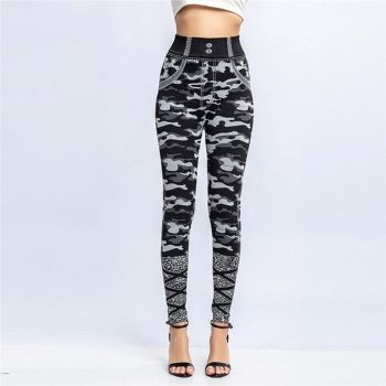 Plus Size Women Camouflage Fashion Cool Girls Stylish Daily Clothes Skinny Fit Stretchy Leggings Pants Jegging Trousers O8