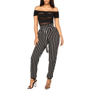 Black and White Casual Drawstring Waist Striped High Waist Tapered Carrot Pants Summer Women Going Out Trousers #A