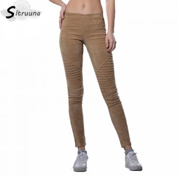 Sitruuna 2019 Spring winter faux suede leggings fold high waist retro elastic stretchy slim women pencil pants plus size