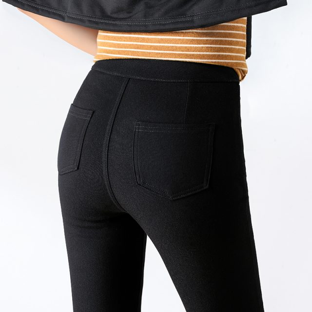 WKOUD 2019 Sexy Solid Pencil Pants Women's Full Length Leggings High Waist Stretch Trousers Female Casual Wear Black White P8823