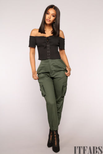 Women's High Waisted Cargo Trousers Cotton Pants Solid Punk Loose Long Sports