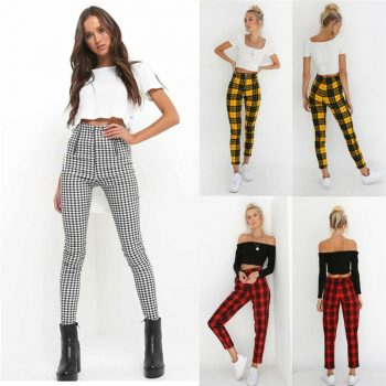 Women Leggings New Skinny High Waist Sexy Jeans Trousers Denim Slim Stretchy Pencil Pants Zip-up Plaid Bodycon Pants Leggings