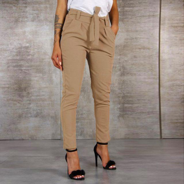 2019 Fashion Women High Waist Harem Pants Women Bandage Elastic Waist Stripe Casual Pants #1001