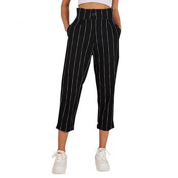 Fashion Summer Striped Straight Leg Casual Pants Women High Waist Striped Casual Butto Pants With Pockets Ladies Trousers #612