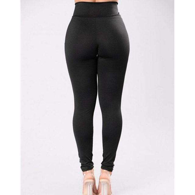 Women High Waist Pants Solid Color High Elastich Pants Skinny Casual Beach Party Trousers Fitness Women Trousers Ladies Leggings