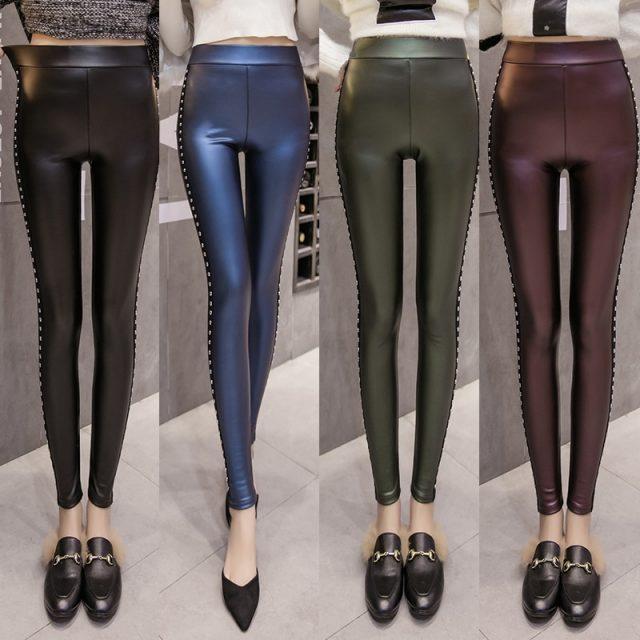 Winter Velvet warmth women pants PU Leather leggings Women Fashion Rivets Pencil Pants S-XXL Ladies skinny pants women Z0002 40