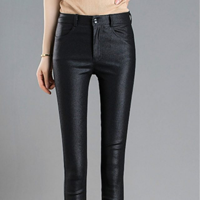 Fashion Autumn Winter Warm Elastic Women's Pencil Pants Female PU Leather Trousers Skinny Pants Women's Tight Pants 7648 50