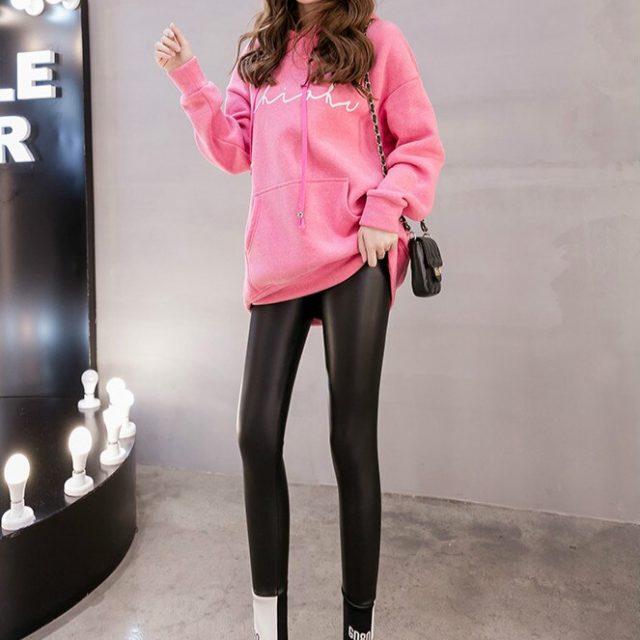 Autumn Winter Sexy PU Leather Pants High Elasticity Slim Leggings Women Plus Velvet Black Pencil Skinny Tight Trousers 7818 50