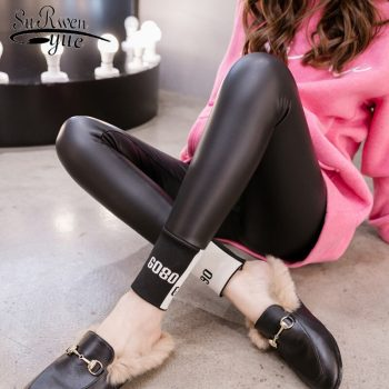 Autumn Winter Sexy PU Leather Pants High Elasticity Slim Leggings Women Plus Velvet Black Pencil Skinny Tight Trousers 7818 50