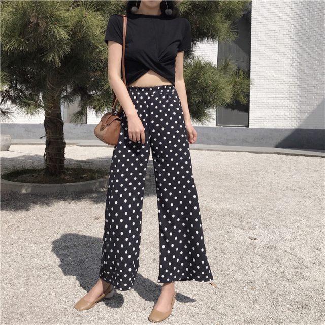 New Fashion dot Wave point chiffon pants casual loose flare pants elastic waist chiffon women pants bohemian beach pants 0259 40
