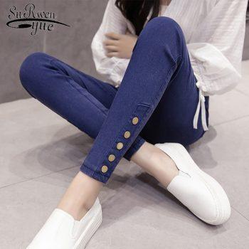 High Stretch Fashion Pencil Pants Plus Size Casual Pants Women Black Imitation Denim Leggings Female Skinny Trousers 7356 50