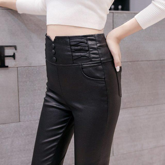 Autumn High Waist PU Leather Pants Women High Stretch Leggings New Winter Fashion Women Skinny Pencil Pants Casual Pants 7364 50