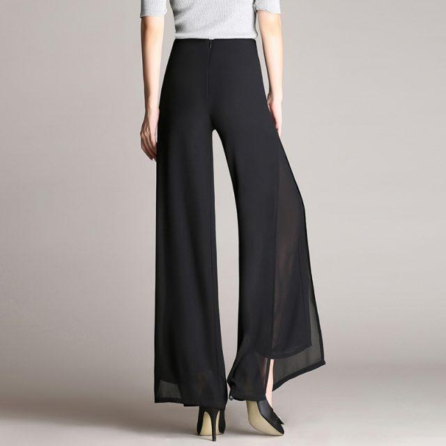 New Chiffon Summer Loose High Waist Pants Women Vintage Trousers Double Layer Side Split Casual Pants Wide Leg Pants 7361 50