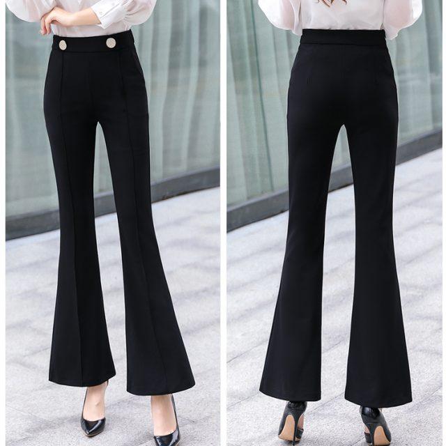 New Korean High Waist Women Pants Fashion Autumn Full Female Pants Slim Leisure Pants Plus Size Flare Black Pant Women 6853 50