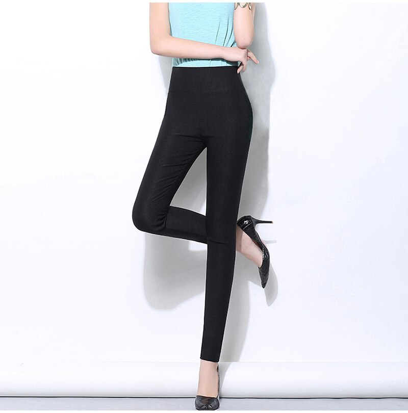 Autumn High Waist Women's Pants in a Cage Streetwear White Black Stretch Trousers for Women Slim Leggings Female Plus Size 6XL