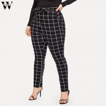 Womail Plus Size Women Pants Fashion Bandage Skinny High Waist Printing Casual Trousers Pencil Black Pants JULY09 pantalon femme