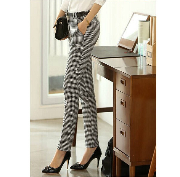 2019 Spring Summer Autumn Women Slim Casual Pants Work Wear Career Houndstooth Pants Straight Pencil Pants Women trousers female