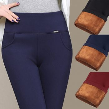 Women Winter Leggings Plus Size High Waist Stretch Thick Legging Solid Skinny Warm Velvet Pencil Pants Lady Trousers 2019 New