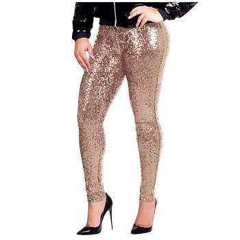 Long Skinny Sequins Pants Woman Glitter Golden High Waist Trousers Female Party Dance Pant Streetwear Pants Plus Size #LR4