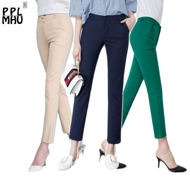 Women's Casual Candy Pencil Pants 2019 New arrival 95% Cotton Elastic Slim Skinny Pants Femal Women's Stretch Pencil Trousers
