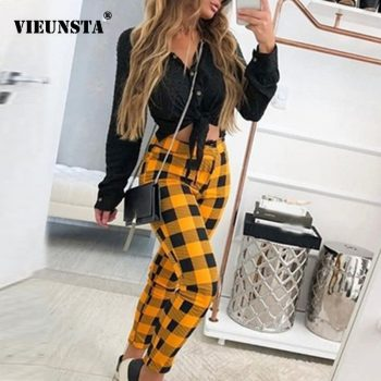 2020 Spring Plaid Print Long Pants Women Fashion Plus Size Elastic Waist Straight Sweatpants Lady Streetwear Autumn Trousers 5XL