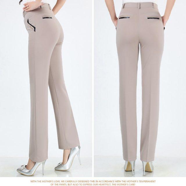 Women Trousers straight pants high waist casual female pantalon femme calca feminina khaki beige red blue big plus size 28~38